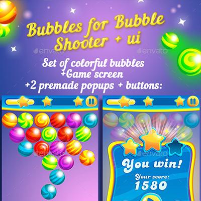 verver's portfolio » Bubbles For Bubble Shooter Game + UI kit